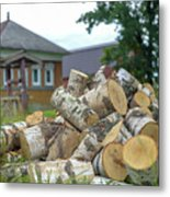Firewood In The Village Metal Print