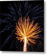 Firework Blue And Gold Metal Print