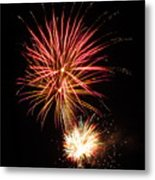 Firework Pink And Gold Metal Print