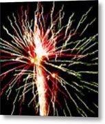 Firework Pink And Green Streaks Metal Print