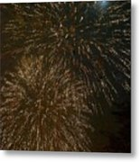 Fireworks 4 With Moon Metal Print