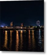 Fireworks And The Blue Bridge Metal Print