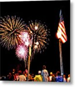 Fireworks And The Flag Metal Print
