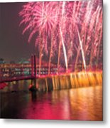 Fireworks And Waterfall Metal Print
