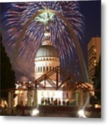 Fireworks At The Arch 1 Metal Print