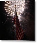 Fireworks Behind American Flag Metal Print