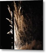 Fireworks Behind The Street Light Metal Print