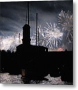 Fireworks Over Marseille's Vieux-port On July 14th Bastille Day Metal Print