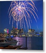 Fireworks Over The Boston Skyline Boston Harbor Illumination Streaming Down Metal Print