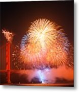 Fireworks Over The Golden Gate Bridge Metal Print