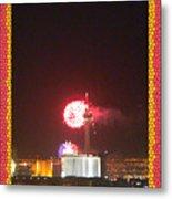 Fireworks Over The Las Vegas Strip Metal Print