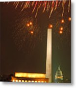 Fireworks Over Washington Dc Mall Metal Print
