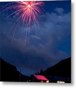 Fireworks Show In The Mountains Metal Print