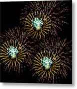 Fireworks - Yellow Spirals Metal Print