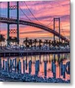 Firey Sunrise Vertical Waterfront Metal Print
