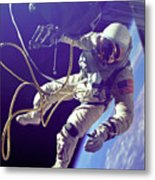 First American Walking In Space, Edward Metal Print