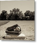 First Base In Sepia Metal Print