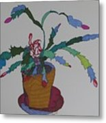 First Bloom Christmas Cactus Metal Print