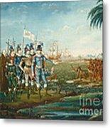 First Landing Of Christopher Columbus Metal Print
