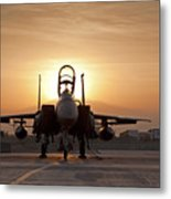 First Light On A Fighter Metal Print