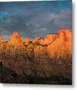 First Light On The Towers - Zion N.p.  Metal Print
