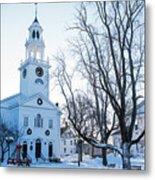 First Parish Church Manchester Ma North Winter Snow Metal Print