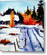 First Snow And Last Of Fall Metal Print