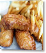 Fish And Chips On A Plate Metal Print