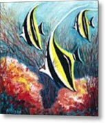 Moorish Idol Fish And Coral Reef Metal Print