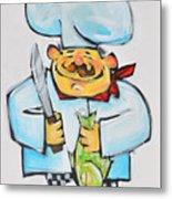 Fish Chef Metal Print