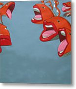 Fish Fight Metal Print