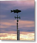 Fish Weather Vane At Sunset Metal Print
