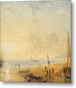 Fisherfolk On The Shore Near Dover At Sunset Metal Print