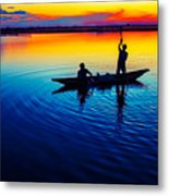 Fisherman Boat On Summer Sunset, Travel Photo Poster Metal Print