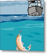 Fisherman On Boat Trout  Metal Print