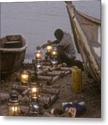 Fisherman Prepares Lanterns For Night Metal Print