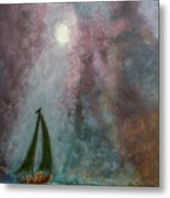Fisherman Under Full Moon Metal Print