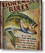 Fisherman's Rules Metal Print by JQ Licensing