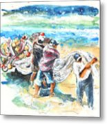 Fishermen In Praia De Mira Metal Print