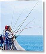 Fishermen On Commercial Pier In Monterey-california  Metal Print