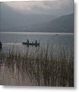 Fishermen On Lake Atitlan Metal Print