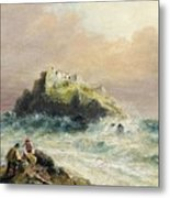 Fishermen On The Rocks Before A Castle Metal Print