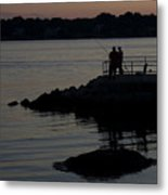 Fishermen Silhouetted By The Sunset Metal Print