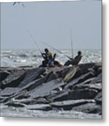 Fishermen With Seagull Metal Print