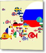 Fishes Map Of Europe Metal Print