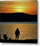 Fishing Along The Hudson Metal Print