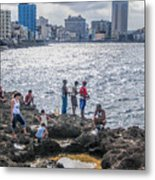 Fishing Along The Malecon Metal Print