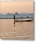 Fishing At Dawn Metal Print