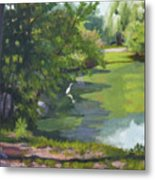 Fishing At Glen Rock Pond Metal Print