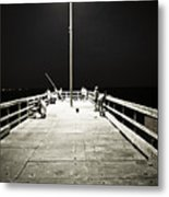 Fishing At Night Metal Print